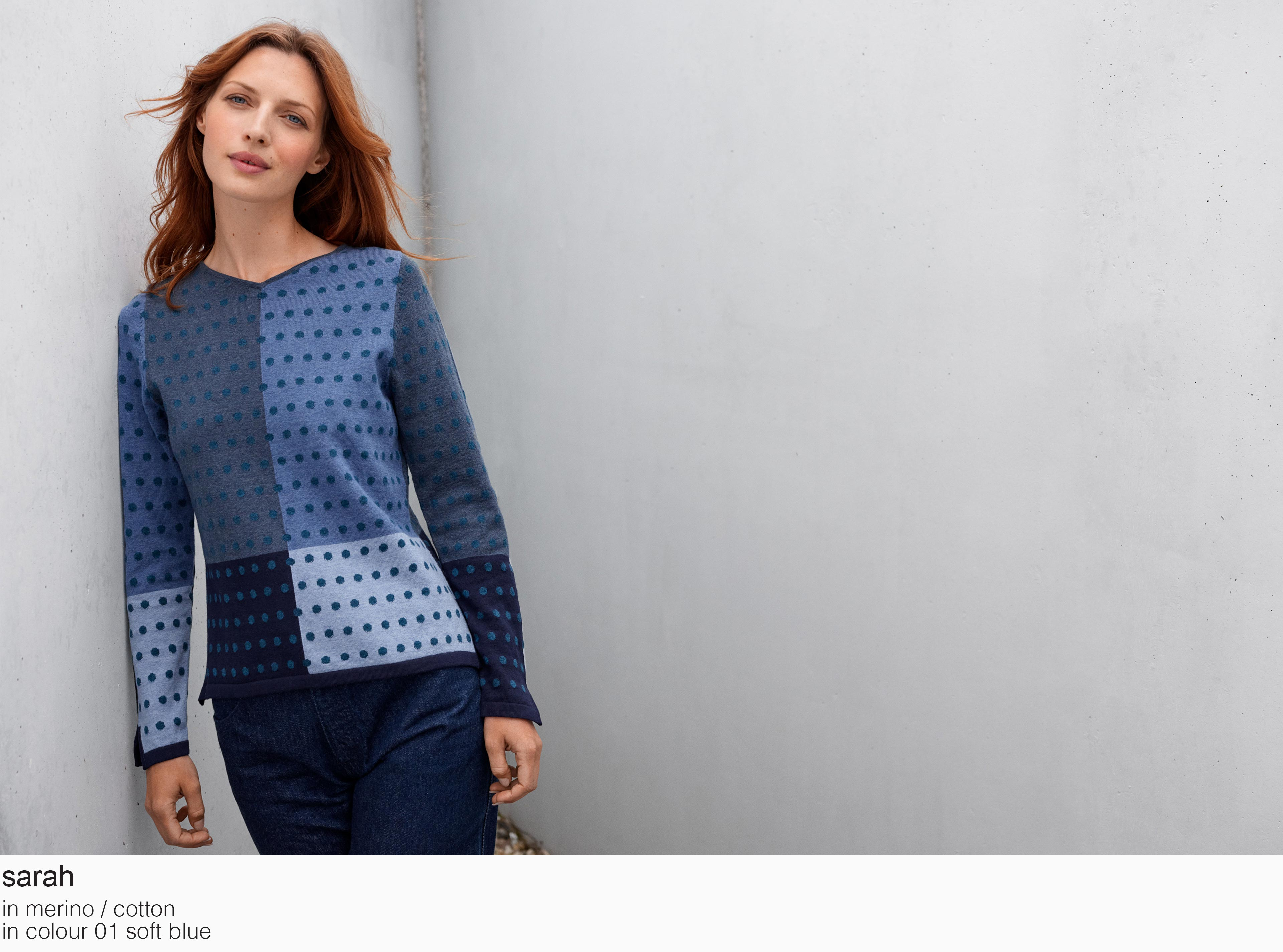 mansted sarah merino cotton 01 soft blue aw19 aw 2019 Knitwear quality knit multicoloured colour colourful cotton yak lambswool soft versatile feminine beautiful details fashion favourite autumn winter bright colours pullover jumper t-shirt cardigan jacket strik kvalitetsstrik farverig bluser trøjer feminin strik til kvinder